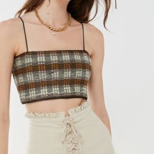 Dream weaver Plaid Cropped Cami